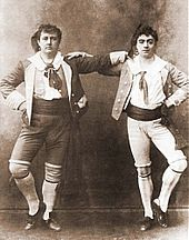 """Rutland Barrington and Courtice Pounds as Giuseppe and Marco in The Gondoliers - The Gondoliers (1889) takes place partly in Venice and partly in a kingdom ruled by a pair of gondoliers who attempt to remodel the monarchy in a spirit of """"republican equality."""""""