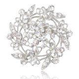EVER FAITH® Bridal Silver-Tone Heart Flower Filigree Clear Austrian Crystal Brooch