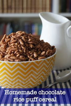 chocolate rice puffs homemade breakfast cereal - A tasty and healthy alternative to boxed commercial cereal This easy to make chocolate rice puff recipe will be a winner with the kids