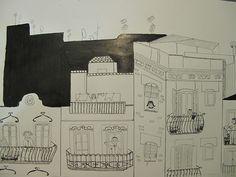 """Ilustración""""Fachadas"""" con tinta china."""