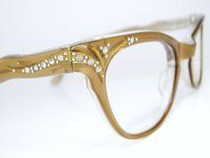 Cat Eye Glasses Horn Rim | Vintage Womens 50s Light Bronze Horn Rim Cat Eye Eyeglasses Frame NOS