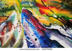 Abstract watercolor texture. Modern painting. Colorful rainbow palette. Avant-garde art. Stains, spray paint. Colorful streaks