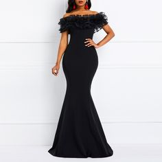Women Summer Dress Off Shoulder Ruffles Slash Neck Mermaid Dress Party Dinner Elegant Evening Black Maxi Dress Party Dresses For Women, Cheap Dresses, Elegant Dresses, Dress Plus Size, Mermaid Prom Dresses, Pulls, Body, Costume, Marie