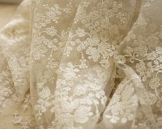 SALE Ivory Lace Fabric, Wedding Fabric, French Embroidered Lace, Bridal Lace Fabric, wedding Dress Lace, Apparel Curtain Fabric Veil Lace