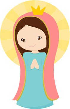 Virgen de Guadalupe Kawaii, Holy Mary, Cute Clipart, Blessed Virgin Mary, First Holy Communion, Bible Crafts, Christmas Nativity, Mother Mary, Cute Images