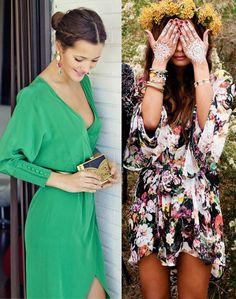 Look boda formal vs Look boda hippie. No hay looks mejores o peores, pero deben ser adecuados.
