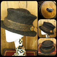 MADE to ORDER Classic round felt hat - 'Rustic' - felted wool - dark brown black Merino, Shetland & Alpaca - Handmade ARtWeAR OOAK. £74.00, via Etsy.