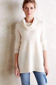 Waffled Cashmere Cowlneck #anthropologie $228 I love the shape of this sweater!