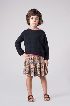 Summer skirt, blue sweater and leather sandals - Caramel Baby & Child #ladida #ladidakids