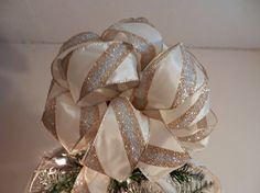 Large  Christmas Tree topper bow made of an by creativelycarole, $30.00