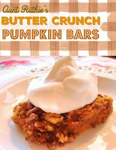 Come get the recipe to my Butter Crunch Pumpkin Bars! Pumkin Bars, Pumpkin Crunch, Sugar Pie, Cookie Icing, Thanksgiving Blessings, Thanksgiving Treats, Fall Treats, Dessert Bars, Cake Bars