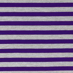 77f046a1a1b Purple Heather Gray Half Inch Stripe Cotton Jersey Blend Knit Fabric - A  pretty purple and