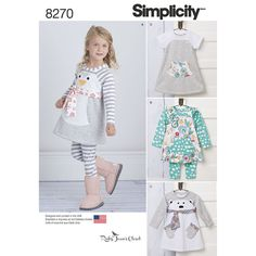 1/2-4 Adorable knit dress, tunic and leggings from Ruby Jean's Closet can be made in adorable mixed prints or solids, or can have sweet penguin or bear bodices. Simplicity sewing pattern.