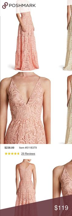 """Dress the Population Melina Fit & Flare Lace Maxi Brand new with tags, romantic and sexy """"rose petal"""" lace fit and flare maxi dress. The color is a blush pink with gold threading running through the floral pattern. Perfect for a special occasion, cruise, tropical vacation, or a beach wedding as a guest, or even the bride. The dress is lined but sheer from mid-thigh to hem; this gorgeous dress with make you look and feel amazing. Currently selling at Nordstrom and Lord & Taylor for twice as…"""