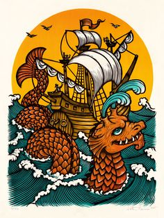 "The sea serpent spouts and glides by a ship manned possibly by pirates. An 18""x24"" 5-color woodcut block print."