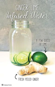 Sip on this healthy ginger lime infused water at your next summer bbq. More reci… - infused water Lime Infused Water, Infused Water Recipes, Lime Water Detox, Ginger Infused Water Recipe, Infused Waters, Healthy Eating Tips, Healthy Drinks, Healthy Water, Healthy Nutrition