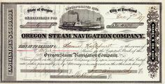 Oregon Steam Navigation Co., Portland, Oregon, Aktie von 1877 + ÄUSSERST SELTEN!