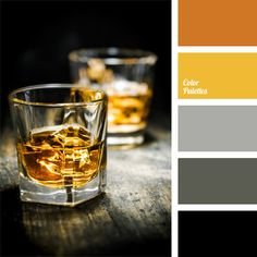 Contrasting combination of shades of gray whiskey colors: brown and amber-yellow (color of whiskey). This color solution may be suitable for design of study-library, it will look organically in everyday's and sports' men's wardrobe.