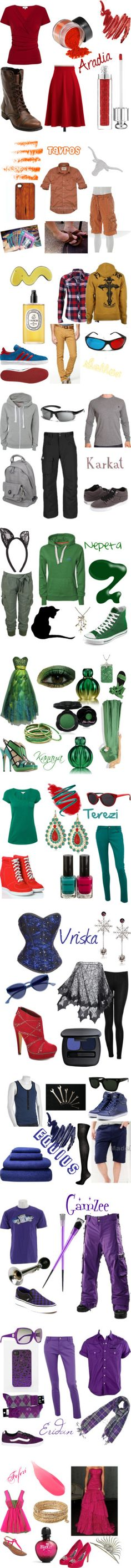 """FashionStuck"" by jaefashion on Polyvore           Homestuck inspired outfits in order of blood hierchy"
