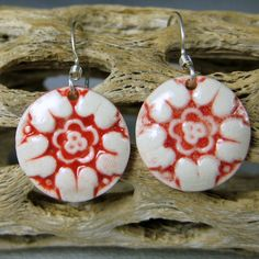 Bright Red Flower 2 Porcelain Earrings With by PhenixPottery