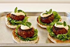 lamb burgers with harissa yogurt.