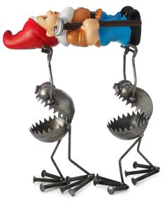 Ahhhh. I don't know what's more threatening--the metal guys or the price tag of $125.00  GNOME-BE-GONES WITH GNOME | Metal Garden Sculpture, Fred Conlon | UncommonGoods