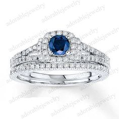 925 Silver Blue Sapphire & White Diamond Women's Bridal Ring Set For Women's #adorablejewelry #BridalRingSet #AnySpecialDay