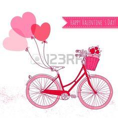 風船や花、ロマンチックなバレンタインの日カードでいっぱいのバスケットと自転車 photo