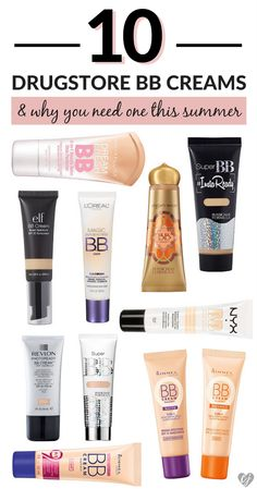 The weather's getting hot which means it's time to swap out your heavy thick foundation for a lightweight and affordable BB cream from the d… Bb Cream For Acne, Bb Cream For Oily Skin, Best Cc Cream, Good Bb Cream, Best Bb Cream Drugstore, Best Drugstore Makeup, Best Makeup Products, Best Drugstore Tinted Moisturizer, Beauty Products