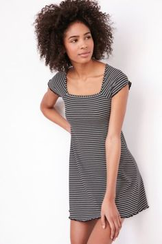 BDG Gretel Striped Square-Neck Mini Dress - Urban Outfitters