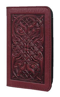 Oberon Design - Celtic Hounds Leather Checkbook Cover