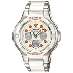 Casio Women's Baby-G Watch BGA123-7A2 Casio. $128.95. 1/100 second stopwatch, Countdown Timer, Full auto-calendar (pre-programmed until the year 2099). Shock Resistant, 100M Water Resistant, LED Light with Afterglow. 12/24 Hour Formats, Button Operation Tone on/off, 3 Alarm Patterns, 00-Second Animation on/off. Accuracy: +/-30 seconds per month, Battery: SR726W x 2, Approx. Battery Life: 2 years, Module 5001, Size of case/total weight: 43.6 x 38.9 x 13.1mm / 42g. World ...