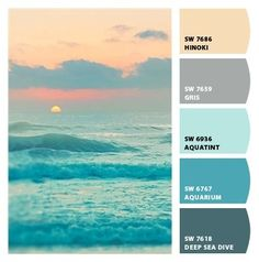 subdued ocean sunset muted blues cool tones palette greys grays peaches blush baby blue powder blue slate beautiful relaxing spa calming scheme living room dining room bedroom guest room bathroom den media room beach house Paint colors from #ChipIt! by #Sherwin-Williams