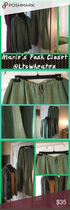 Sage Green Pantsuit Lovely blazer over matching slacks. Slacks have a tiny hole in leg, mostly unnoticeable. Pants are drawstring. Jacket alone selling as stated, pants included in the price. Other than the tiny hole in the pants, EUC, so Jacket is EUC, pants are included for free. Awesome outfit. Nordstrom Jackets & Coats Blazers