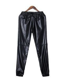Casual Stylish Elastic Waist Long PU Leather Pants Blend Solid Color  - Gchoic.com