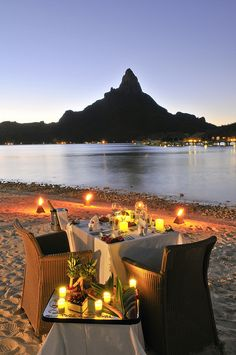 Bora Bora sunset private dinner for 2 on the beach!