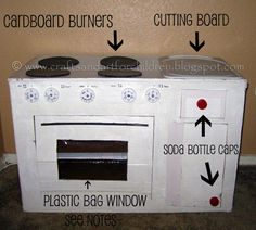 "Justin NEEDS this! LOL How to Make a Cardboard Kitchen for kids .Juice Lids for the ""burner"" knobs.Soda bottle caps for the drawer pulls.Plastic Bag for the oven window. Cardboard Kids, Cardboard Kitchen, Cardboard Playhouse, Cardboard Crafts, Cardboard Boxes, Cardboard Furniture, Toddler Kitchen, Pretend Kitchen, Diy Play Kitchen"