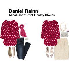 Stitch Fix: Daniel Rainn Minal Heart Print Henley Blouse- Love the color, print and neckline of this shirt