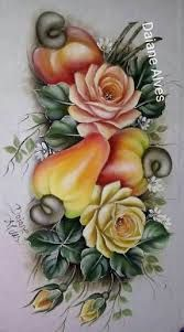 Imagem relacionada Fruit Painting, Tole Painting, Fabric Painting, Glass Flowers, Fall Flowers, Decoupage Box, Stencil Patterns, Painted Books, Rice Paper