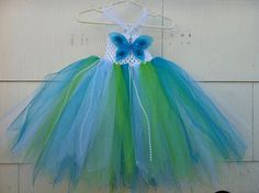 Turquoise and lime green tutu dress
