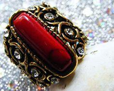 CZ Rhinestones Turquoise Vintage Gold Women's Ring.  Size 5
