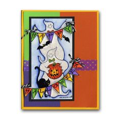 Northwoods Stamped Halloween Ghosts Banners Card