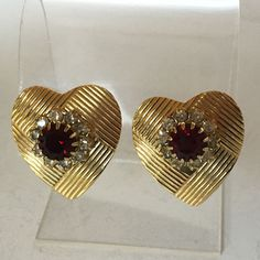 Gold plated heart shape ear clips with round ruby color stone and whi... Lot 27A