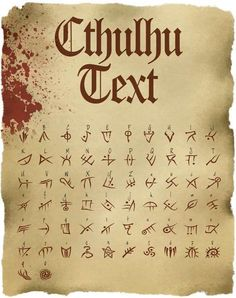 Cthulhu Text: TTF Font File - Cthulhu Text: TTF Font File Discovered in 1923 by Stapleton McTavish the famous explorer and collector of ancie Alphabet Code, Alphabet Symbols, Tattoo Fonts Alphabet, Cursive Alphabet, Ancient Alphabets, Ancient Symbols, Occult Symbols, Mayan Symbols, Egyptian Symbols
