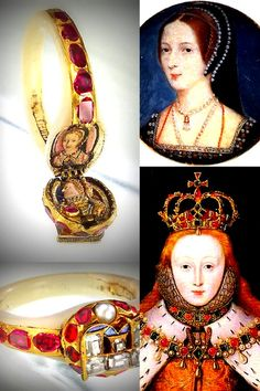 Although throughout her reign Queen Elizabeth I never spoke publicly of her mother, upon Elizabeth's death in 1603, this ring was removed from her finger. Within its secret compartment are two miniature enamel portraits, one of Elizabeth, the other, of Anne Boleyn.