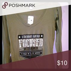Army Green Tee Long sleeves, says: Straight Ahead, Focused, Determined, Thick Chic. V-neck. Never worn. Still has tag. Tops Tees - Long Sleeve