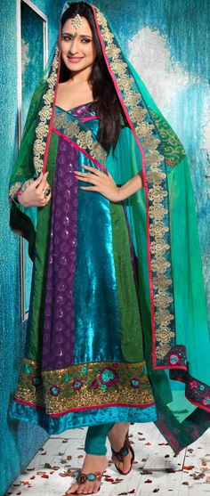 #Green Velvet and Viscose #Churidar Kameez Itemcode: KSX1003B Price: $120.27 #Shop Now @ http://www.utsavfashion.com/salwar/green-velvet-and-viscose-churidar-kameez/ksx1003b-itemcode