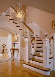 Traditional Staircase Design Ideas, Pictures, Remodel and Decor Entryway Stairs, Entry Foyer, Traditional Staircase, Staircase Design, Wood Staircase, Wood Handrail, White Staircase, Railings, Stair Design