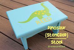 Dinosaur Stenciled Stool