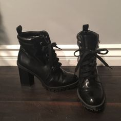 Zara combat heels. Faux leather From Zara. Super cute lace up faux leather combat heels! Great condition. Shoes Heeled Boots